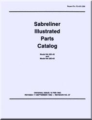 Sabreliner NA 265 -40 -60  Aircraft Illustrated Parts Catalog Manual - Reports No. NA-62-1208 - 1963