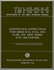 Piasecki H-21  A B C  Helicopter  Maintenance Instructions Manual - TM 01-1H-21-2-5 , 1958