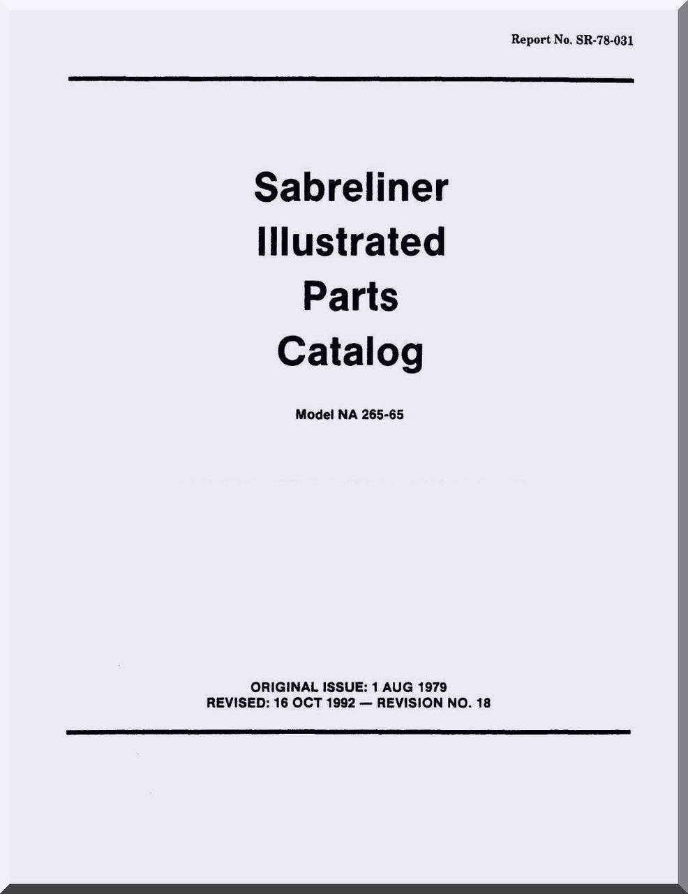 Sabreliner NA 265-65 Aircraft Illustrated Parts Catalog