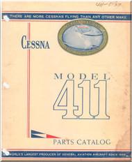 Cessna 411   Aircraft Illustrated  Parts Catalog Manual  , 1956