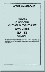 Grumman EA-6 B Aircraft Checklist Manual - 01-85ADC-1F