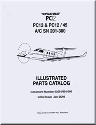 Pilatus PC-12  Aircraft  Illustrated Parts Catalog  Manual -  ( English Language )