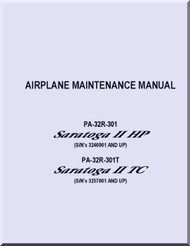 Piper Aircraft   Pa-32R-301 PA- 32R-301T  Saratoga  II HP II TC   Maintenance  Manual