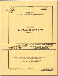 Piper Aircraft ZL4 A, ZL-4B and  L- 4H Handbook Flight Operating Instructions Manual AN 1L4A1,  1943