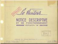 """SNCASO SO  4050 Vautour """" N """" Aircraft Descritive amd  Maintenance  Manual - Notice Descriptive  et de Fonctionment Manuel ( French Language )"""