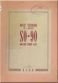 SNCASO SO  90  Corse  Aircraft Notice Technique  Manual ( French Language )