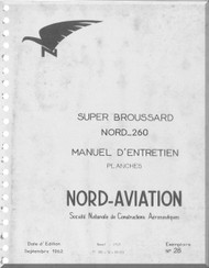Nord  260 Super Brousard Airacrft Manuel d'utilisation   Manual   (French language ) -  Planches -1962