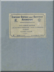 Morane-Saulnier MS-475 Notice Technique Provisories  Des equipments Hydrauliques -Training d'atterissage  et annxes  ( Maintenance  Manual ) French Language