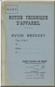 Breguet Type 16 Bn 2  Aircraft Technical  Manual ( French Language )