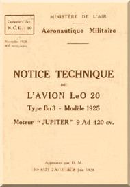 Lioré et Olivier LeO 20 (Notice technique)  Manual   (French language )