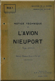Nieuport Type 29 C.1 Aircraft Technical  Manual ( French Language )  -  October 1923