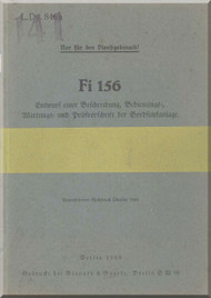 Fieseler Fi-156 Aircraft Radio Equipment  Manual - Bordfunkanlage  -   (German Language ) -