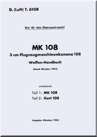 Messerschmitt Bf 108 B and D  LDvT 6108    Waffen-Handbuch ,  Weapon Handbook  Manual ,  (German Language ) - , 1943
