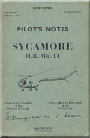Bristoll Sycamore HC. Mk.14  Helicopter Pilot's Notes  Manual  -AP.4361G-PN , 1958