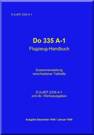 Dornier DO 335 A-1  Aircraft  Handbook Manual   Flugzrughandbuch  (German Language )