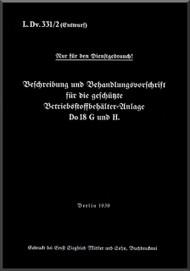 Dornier DO -18G  Aircraft  Maintenance Manual  , ( Geman Language )  -L.DvT.331 /2 - 1939