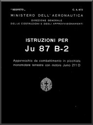 Junkers JU 87 B-2   Aircraft Instruction Manual , Manuale di Istruzione   ( Italian Language )