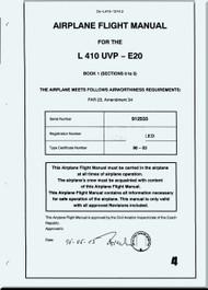 Let L-410 UVP-E, -E9, UVP-E20 Aircraft  Flight  Manual -  ( English Language ) -