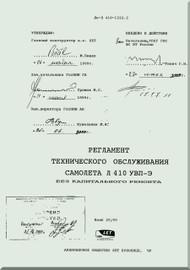 Let L-410 UVP-E,  Aircraft   Maintenance Schedule Manual -  -  ( Russian  Language ) -