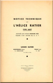 Ratier Propeller Type 1607  / Morane 406 Aircraft Propeller   Manual  ( French Language )