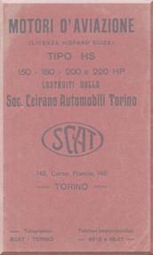 SCAT 150 -180 -200 220 HP Aircraft Engine Instruction  Manual,    ( Italian Language )