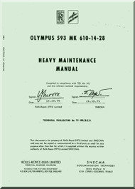 Bristol / Rolls Royce Olympus 593 Aircraft Engine Heavy Maintenance  Manual  ( English Language ) , 1971
