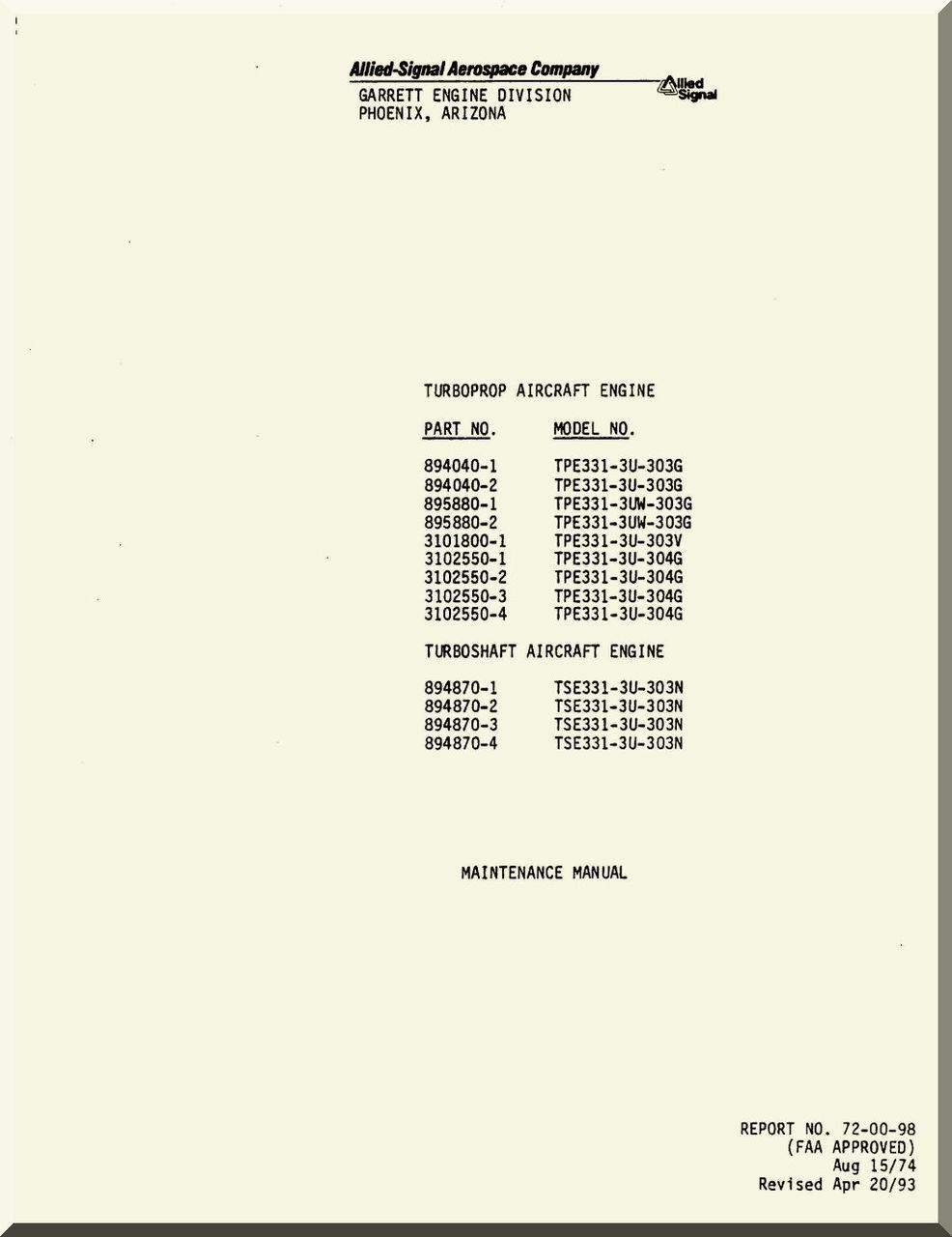 allied signal garrett tpe331 3u turboprop turboshaft engine rh aircraft reports com garrett tpe331 maintenance manual pdf tpe331 line maintenance training manual