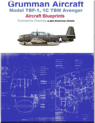 Grumman TBF-1, 1C TBM Avenger Aircraft Blueprints Engineering Drawings - DVDs
