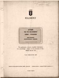 "Rolls Royce "" Avon ""  Aircraft Engine  522 to 524 Preliminary Maintenance   Manual  ( English Language ) -  TSD 1007"