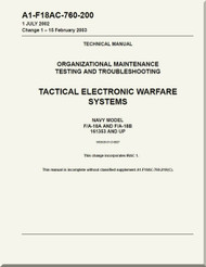 Mc Donnell Douglas F / A -18A  and F / A -18 B  Aircraft  Organizational Maintenance - Testing and Troubleshooting- Tactical Electronic Warfare   Systems - A1-F18AC-760-200