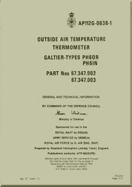 Westland Gazelle ASH Mk1  Helicopter Component  - Outside air Tempeature thermometer Galtier Type  Manual - General and Technical Information A.P. 112G-0638-1