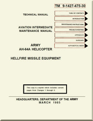 Boeing Helicopter AH-64 A Aviation intermediate Maintenance  Manual - Hellfire Missile Equipment - TM 9-1427-475-30