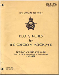 Airspeed OXFORD V  Aeroplane   Aircraft Pilot's Notes Manual -  Royal Canadian Air Force C.A.P. 380