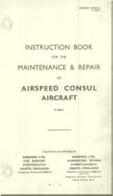 Airspeed Consul    Aircraft Airplanes Instruction Book Maintenance and Repair   Manual