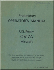 De Havilland CV-7A Buffalo  Aircraft Preliminary Operators   Manual -  1966