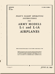 Consolidated / Stinson L-1 , L-1A  Aircraft Pilot Flight Operating Instructions  Manual - 01-500A-1 - 1943