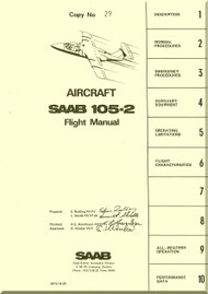SAAB 105-2 Aircraft  Flight  Manual,  ( English Language ) ,  1975