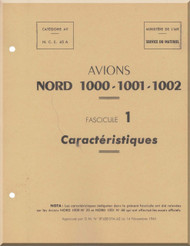 Nortd 1000, 1001, 1002  Aircraft  Avion  Caracteristiques  Manual Manuel  -   ( French language ) -