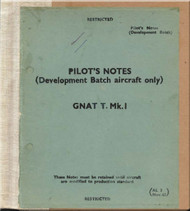 Foland Gnat  T Mk.1 Aircraft  Pilot's Notes Manual - Development Batch Aircraft Only