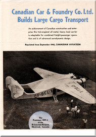 Canadian Car / Burnelli CBY-3  Aircraft Technical  Brochure Manual