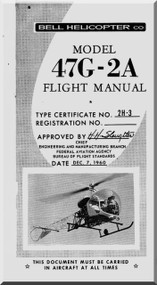 Bell Helicopter 47 G-2A Flight  Manual  - 1960