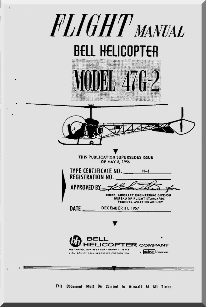 Bell helicopter 47 g 2 flight manual 1957 aircraft reports image 1 malvernweather Gallery