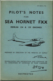 De Havilland  Sea Hornet FXX Aircraft Pilot's Notes Manual - A.P. 4037A - PN