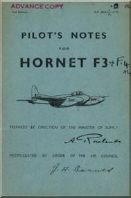 De Havilland  Hornet F3 Aircraft Pilot's Notes Manual - A.P. 2864 C - PN 2nd Edition