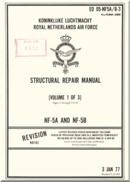 Northrop NF-5 A / B  Aircraft Structural Repair  Manual - EO 05-NF5 A/B-3 - Volume 1 of 3 - 1977