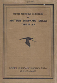 Hispano Suiza 14 AA Aircraft Technical Manual Instruction - 1932 ( French Language )