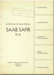 SAAB 91 D Safir Aircraft  Manual  ( English Language )