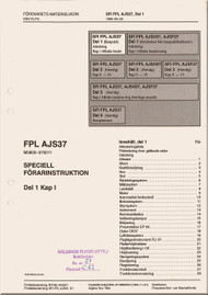 SAAB  AJS 37  Viggen  Aircraft Flight  Manual -  Flygvapnet Speciell Forarinstruktion - Del 1 Kap 1,   ( Swedish Language )
