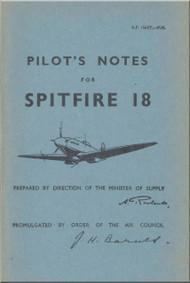Supermarine Spitfire 18 Aircraft  Pilot's Notes Manual  AP 1565 T  PN  -