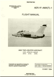 Aerritalia  Aermacchi Embraer AMX Two Seater  Aircraft Flight  Manual, ( English Language )  AER. 1F-AMX(T) -1